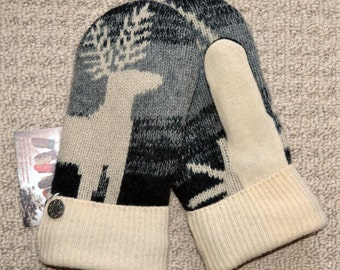 Wool Mittens Handmade recycled upcycled wool sweater, Fleece Lined, Reindeer Fair Isle, Patchwork