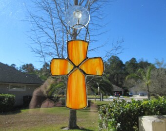 Stained Glass Cross in Orange, Yellow, Red Textured - Baptism, 1st Communion, Confirmations, Weddings, Baby Shower, Easter Gift, Religious