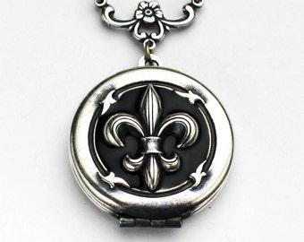 Fleur De Lis Locket, Fleur De Lis Necklace, Locket Necklace, Vintage Style Jewelry, Birthday Gift, Something Blue