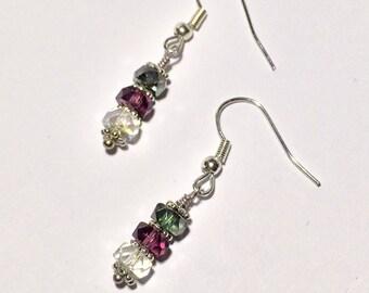 Glass Bead Earrings Multicolored Earrings Bead Earrings Dangle Earrings Line Jewelry Friendship Gift