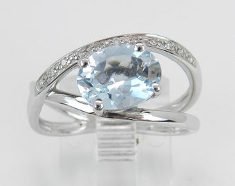 Diamond and Aquamarine Promise Engagement Ring White Gold Size 6.75 March Birthstone
