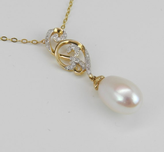 14K Yellow Gold Diamond and Pearl Drop Pendant Wedding Necklace with Chain 18""