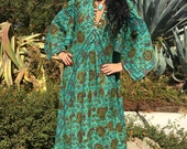 Vintage Cotton Dress// 1970s Gauze Tapestry Dress//Bohemian Gauze Caftan// Handmade Indian Kaftan/Angel Sleeves