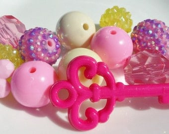 Pink, Purple & Yellow Bead Jewelry Kit, 20mm Sampler Gumball Bead Kit, A1