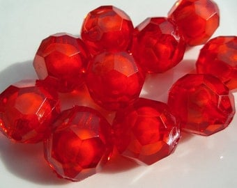 20mm, 10CT, Chunky Faceted Red Bead in Bead Transparent Beads, 20mm Chunky Crimson Bubblegum beads, E8