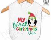 "Babys First Christmas bib - Baby's 1st Christmas Penguin Bib - Personalized Christmas Bib (9.5""W x 9.25""L)"