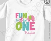 Fun to be ONE 1st Birthday Shirt or Bodysuit - GIRLS Personalized Jungle Birthday Shirt - Zoo Birthday Shirt - Giraffe & Monkey Shirt
