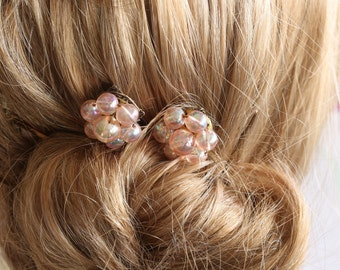 Bridal Hair Pins, Made with Vintage Jewelry, Vintage Wedding Jewelry, Jeweled Hair Pin, Wedding Hair Pin, Flower Girl, Bridesmaids, Pink