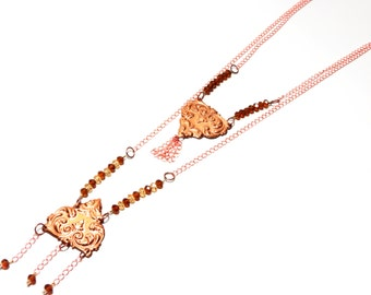Recycled Metal Necklaces, handcarved, rose gold