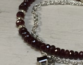 Rocker Chic Bracelet - Red Spinel Gemstones - Multi Strand Bracelet - Garnet Pendant - Urban Rocker Chic - Artisan Jewelry Sundance Style