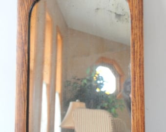 Antique Oak Framed Wall Mirror with Original Glass