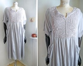 Vintage Dress Pale Blue Crochet neck and back, Wide and relaxed Cotton dress, Boho Natural   M-L