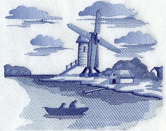 Delft Blue Windmill Scene Embroidered on Kona Cotton Quilt Block // Plain Weave Cotton Dish Towel // Also Available on Other Items