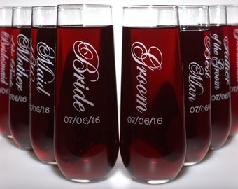 Stemless Champagne 8 Flutes - Wedding Party Gift Set - Choice of Titles, Dated