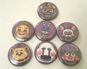 Five Nights at Freddy's inspired 1 inch pinback button set