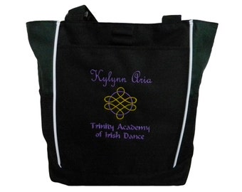 Tote Bag Personalized Celtic Knot Irish Ireland Dance Clogging Luck of the Irish Family Gift Gym Coach Mom Travel Bag