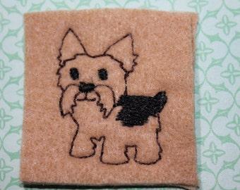 Yorkie full body dog feltie, Yorkie dog feltie on camel tan felt w/ black spot, 4 pieces for hair accessories, scrap booking or crafts