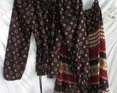 Vintage Blouse and Skirt ~ 2 Piece Set ~ Bohemian Hippie Chic ~ Gypsy Style  ~ Mega Sweet ~ 1970's era