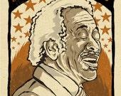 "Allen Toussaint Poster- signed by Grego - digital - Blues folk art - big 12""x18"" - mojohand.com"