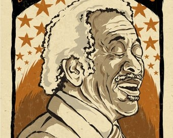 "Allen Toussaint Poster- signed by Grego - digital - Blues folk art - big 12""x18"" - mojohand.com"