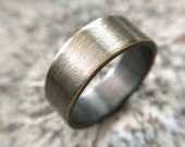 Men's Rustic 9mm Wedding Band - Thick Rugged Brass Ring in Oxidized Gold / Gunmetal Finish - Size & Width Customizable