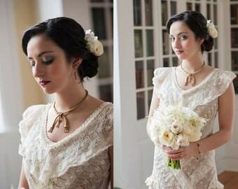 Upcycled Vintage 1930s Lace Wedding Gown/ Alternative Wedding Dress/ Reception Dress/ Elopement Dress