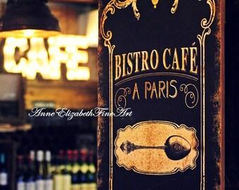 Paris Photography, Paris Cafe Art, Paris Bistro, Paris Kitchen Art, Food Photography, French, Bokeh, Wine, Warm, Rustic, French Dining Room