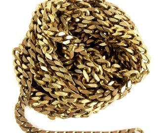 Vintage Chain, Jewelry Chain, Chunky Curb Chain, Jewelry Making, Antique Brass, Jewelry Chain, B'sue, Over 10 Continuous Feet, Item08013