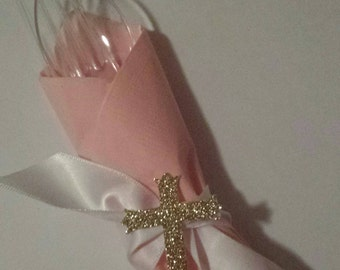 Gold Cross Princess Baptism Ribbon Napkin Rings (12) Custom Made to Match