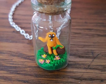SALE Adventure Time Jake Miniature Bottle Scene Pendant Necklace