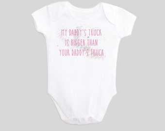 My Daddy's Truck is Bigger Than Your Daddy's Truck Shirt - Bodysuit - TireTracks - Tire Tread - GearHead - Fathers Day - New Dad