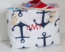 Monogram Anchor Beach Tote Bag Large Tote Sailor Bag Girlfriend Gift Bridesmaids Totes Vacation Travel Pool Bag Rope Handles