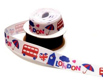 "London - 7/8"" grosgrain ribbon - by the yard"