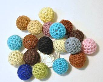 Acrylic with Crochet Beads - 20 Piece Assorted Colors