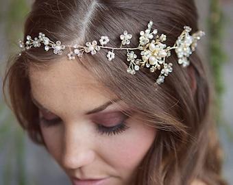 Ione   Gold and Pearl Bridal Hairvine, Crystal, Boho Wedding Halo Vintage Headpiece, Bridal Rhinestone vine