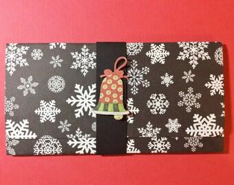 Christmas Money/Gift Card/Check Holder, Black, White, Bell, Red, White Stripes