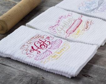 HIPSTER HOUSEWARMING GIFT / Set of 3 Kitchen Towels / Wedding Shower Gift