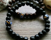 Blackbird Bracelet  (brown, black, wood bracelet )