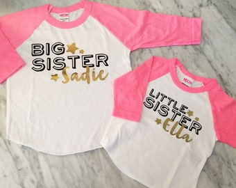 BIG sister little sister shirt set - pink and gold