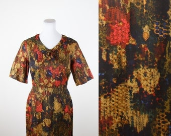 1950s Dress // Artistic Fall Colors Peter Pan Collar Dress