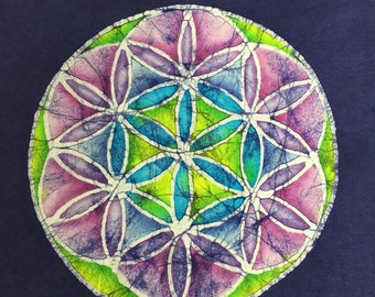 Flower of Life handmade batik - one of a kind. Size Large!