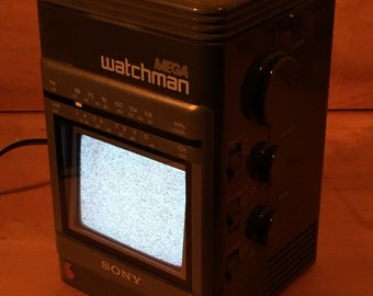 SALE ! Rare Sony TV Mega Watchman FD-500 Am Fm Stereo Receiver Vintage Portable Television Radio Like New Works Awesome