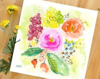 Pen and Ink, Floral Watercolor Painting, Original, Landscape, Fine Art, Modern Art, Ink, Minimalist, Garden Floral, Abstract Art, Bohemian