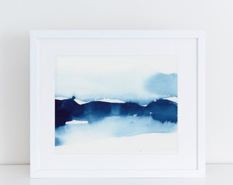Modern Art, Watercolor Print, Minimalist Print, Abstract Art Print, water, ocean, Landscape Painting, Expressionist,