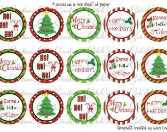 "Christmas 1"" circle digital images for scrapbooking, bottlecap, pins, etc.. No. 256"