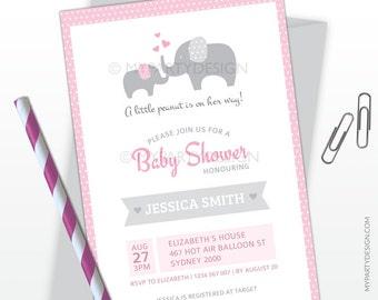 Elephant Baby Shower Invitation - Elephant Party - Girl Baby Shower - PRINTABLE JPEG or PDF file