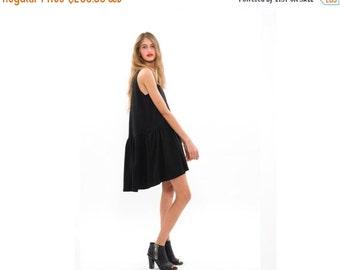 50% OFF, Little Black Dress, Loose Fitting Summer Dress, Sleeveless Crew Neck Dress with Pockets, Urban Fashion