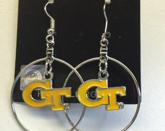 Georgia Tech hoop earring