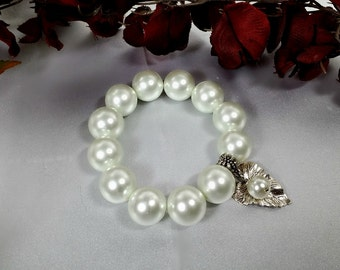 White Pearl Bracelet with Leaf Charm