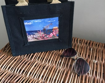 Bespoke trendy hessian bag with printed on the beach scene by JeNoiRe 20cm x25 (8' x 10')